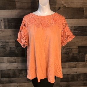 Charter Club 2X Womens Top Orange Lace